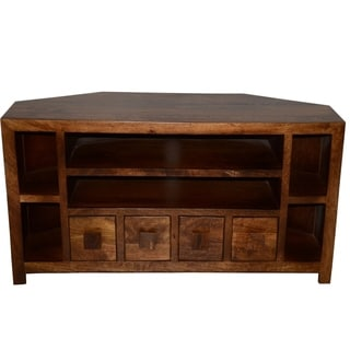 Tan/Brown Solid Mango Wood Corner TV Unit