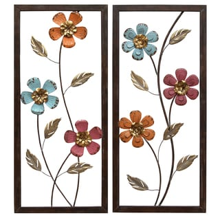 Stratton Home Decor Floral Metal Panel Wall Decor (Set of 2)