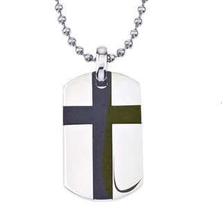 Men's Stainless Steel Cross Dog Tag Pendant By Ever One