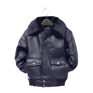Kid's Navy Pilot Leather Jacket