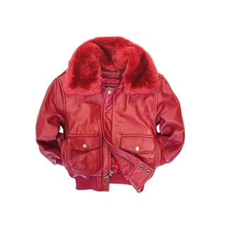 Maverick Kid's Red Genuine Leather Pilot Bomber Jacket