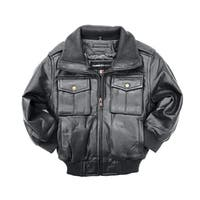 Riley Kid's Black Genuine Leather Jacket