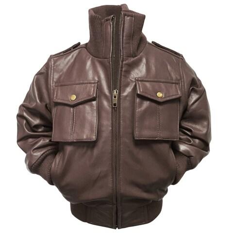 Kids' Riley Brown Leather Jacket