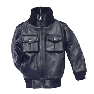 Kid's Navy Lamb Leather Military Bomber Jacket