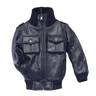Kid's Navy Lamb Leather Military Bomber Jacket