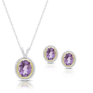 Dolce Giavonna Sterling Silver Amethyst Oval Necklace and Earrings Set