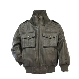 Kids Olive Lamb Leather Jacket