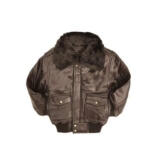 Brown Kid's Leather PIlot Jacket