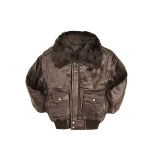 Brown Kid's Genuine Leather Pilot Jacket