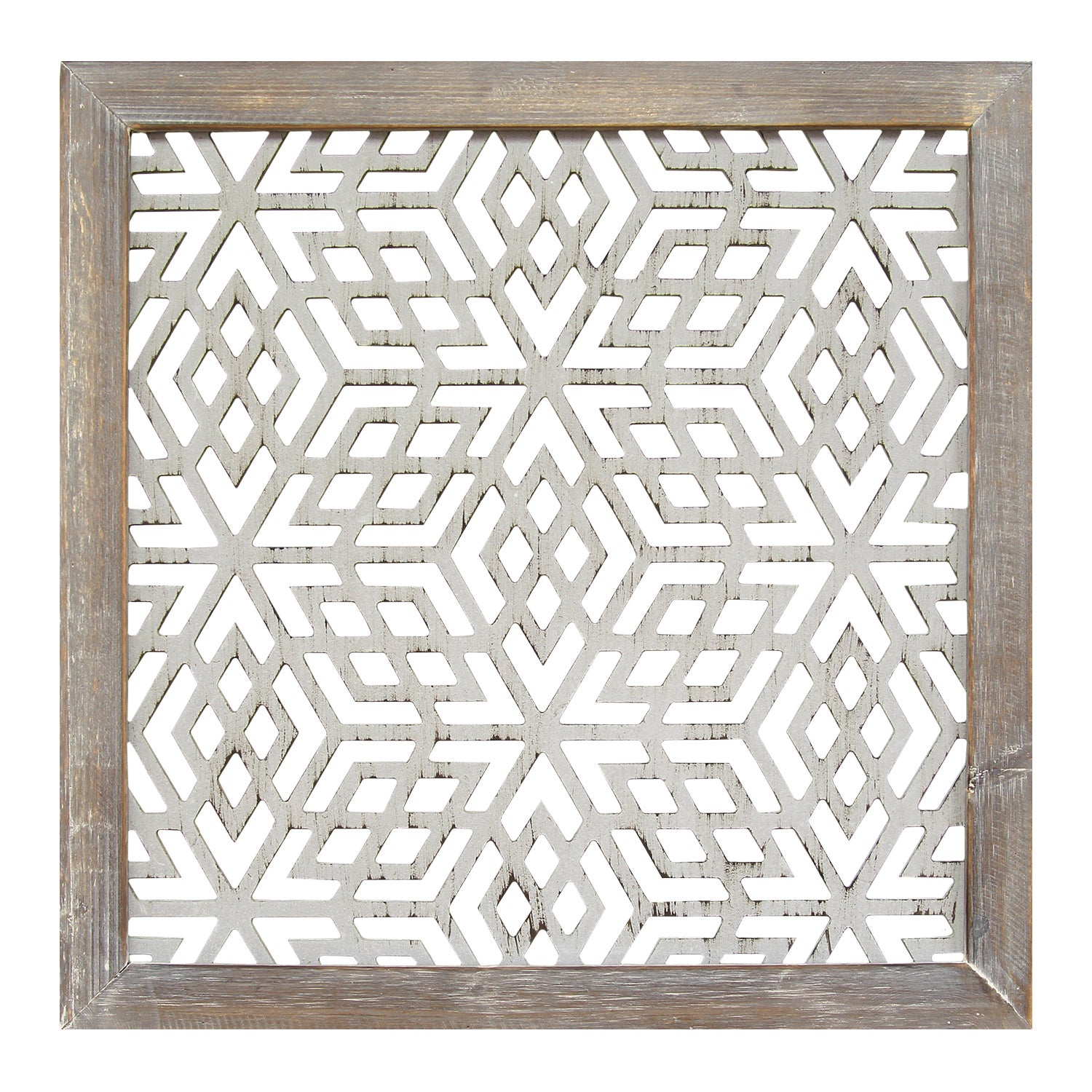 The Curated Nomad Stratton Home Decor Distressed Grey Wood Framed Laser-cut Metal Wall Art  sc 1 st  Overstock.com & Shop The Curated Nomad Stratton Home Decor Distressed Grey Wood ...