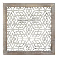 The Curated Nomad Stratton Home Decor Distressed Grey Wood Framed Laser-cut Metal Wall Art