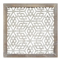 The Curated Nomad Stratton Home Decor Distressed Grey Wood Framed Laser Cut Metal Wall Art