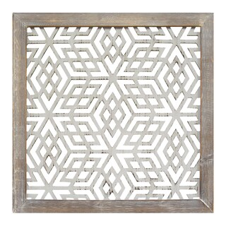 Stratton Home Decor Distressed Grey Wood Framed Laser-cut Metal Wall Art