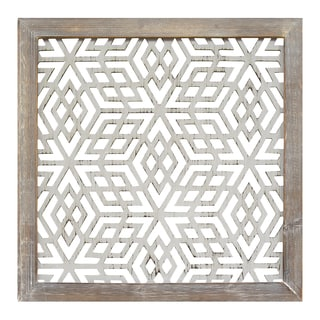 Stratton Home Decor Distressed Grey Wood Framed Laser Cut Metal Wall Art  (Option: