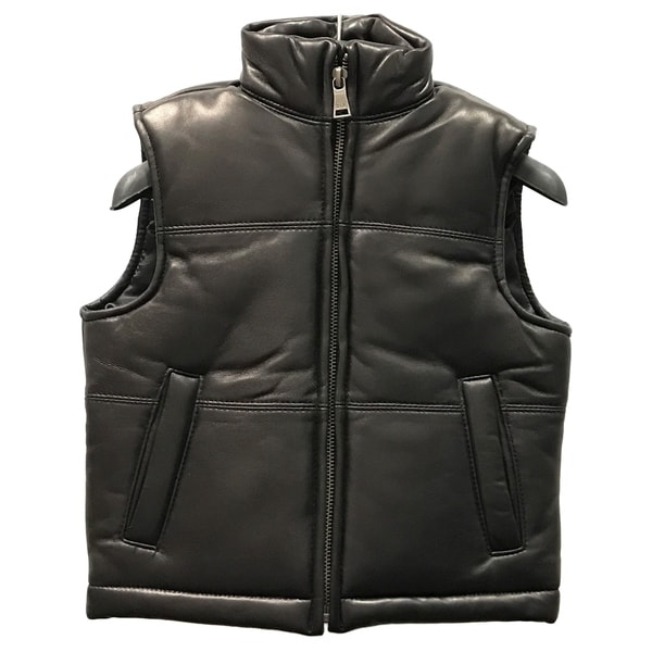 Kids' Black Lamb Leather Padded Vest