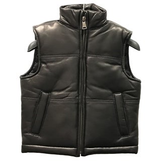 Kids' Black Lamb Leather Padded Vest