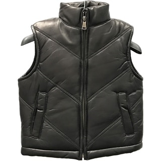 Tanners Avenue Kids' Black Leather Chevron Vest