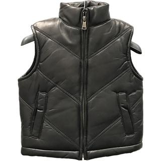 Kids' Black Lamb Leather Chevron Vest (Option: 5t)