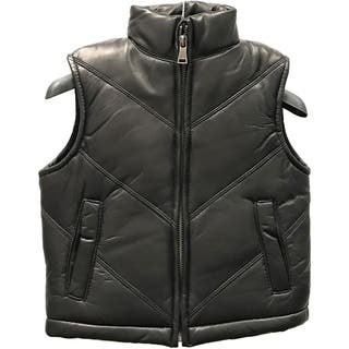 Kids' Black Lamb Leather Chevron Vest|https://ak1.ostkcdn.com/images/products/12861553/P19623648.jpg?impolicy=medium