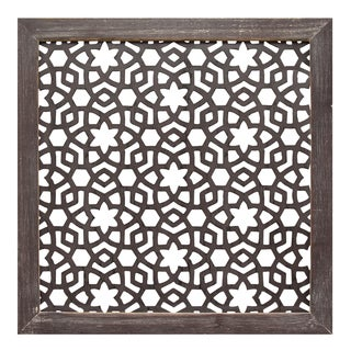 Stratton Home Decor Laser-cut Metal and Espresso-wood-framed Wall Decor