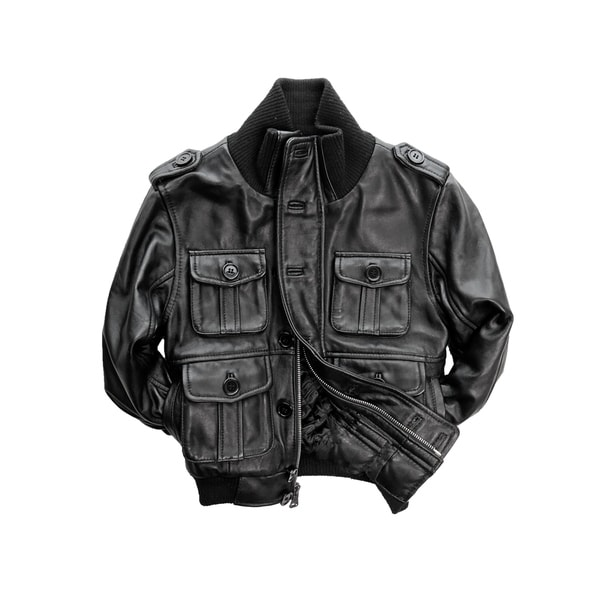 Kid's Black Genuine Lamb Leather Bomber Jacket