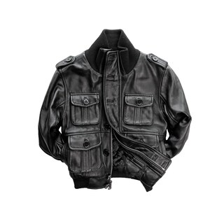 Kid's Black Genuine Lamb Leather Bomber Jacket