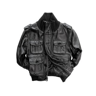 Kid's Black Lamb Leather Bomber Jacket Zip-front