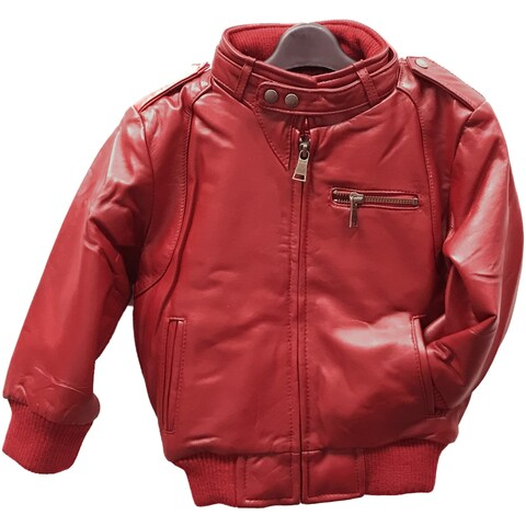 Kids' Red Leather Moto Bomber