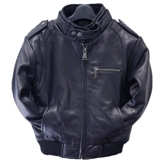 Tanners Avenue Kids Navy Leather Moto Bomber