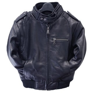 Kids Navy Leather Moto Bomber