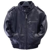 Toddler Navy Lamb Leather Moto Bomber Jacket