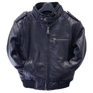 Toddler Navy Lamb Leather Moto Bomber Jacket