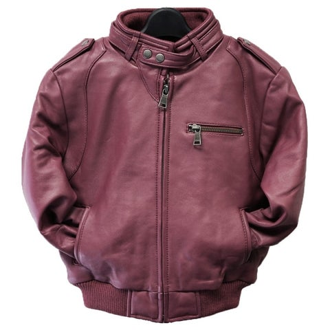 Kids' Burgundy Leather Moto Bomber Jacket