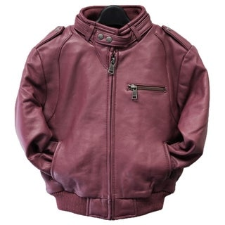 Kids' Burgundy Leather Moto Bomber Jacket