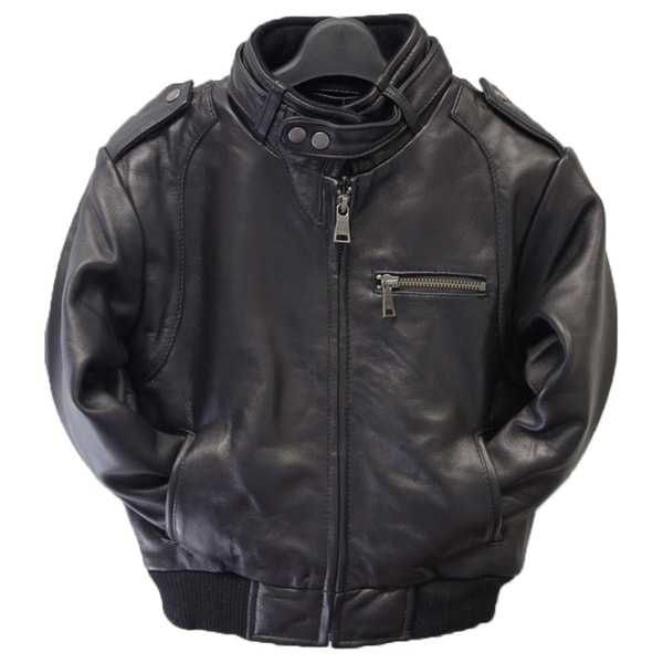 Shop Kids Moto Black Leather Bomber Jacket Free Shipping Today