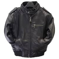 Kids' Moto Black Leather Bomber Jacket
