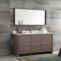 Fresca Allier Gray Oak 60-inch Modern Single-sink Bathroom Vanity With Mirror