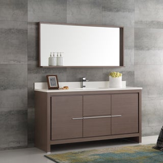 Fresca Allier Gray Oak 60-inch Modern Single-sink Bathroom Vanity With Mirror