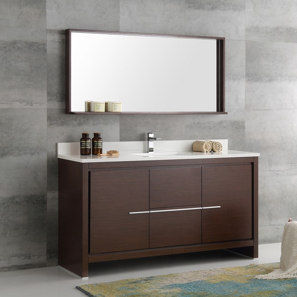 Modern Single Sink Vanity : Fresca Allier Wenge Brown 60-inch Modern Single-sink Bathroom Vanity ...