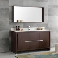 Fresca Allier Wenge Brown 60-inch Modern Single-sink Bathroom Vanity with Mirror