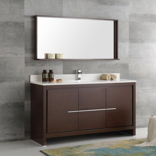 Fresca Allier Wenge Brown 60 Inch Modern Single Sink Bathroom Vanity With  Mirror