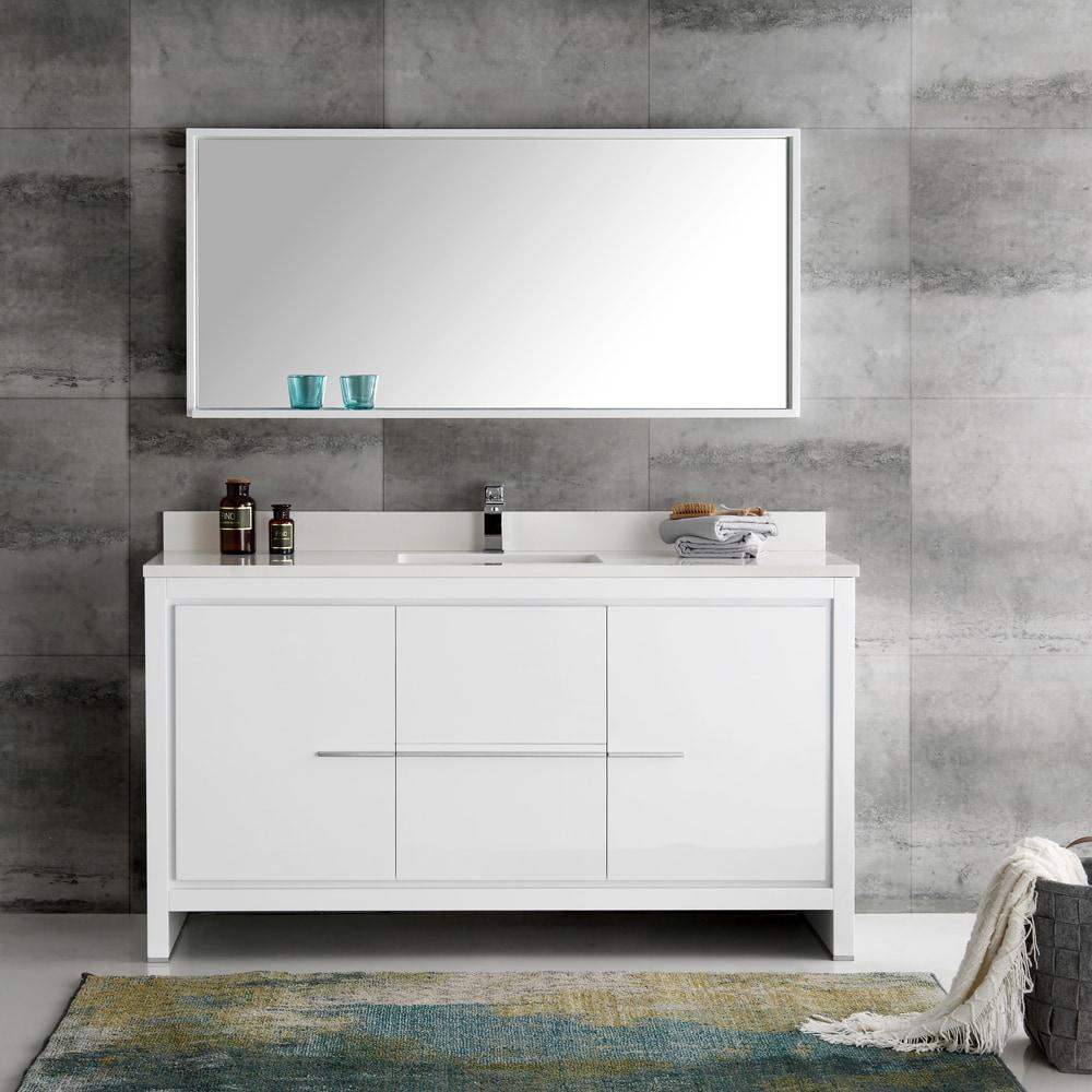 Fresca Allier White 60 Inch Modern Single Sink Bathroom Vanity With Mirror