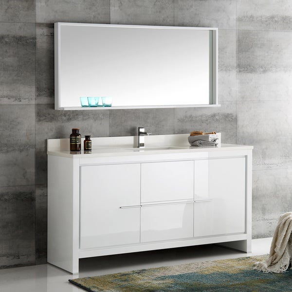 Shop Fresca Allier White 60 Inch Modern Single Sink Bathroom Vanity