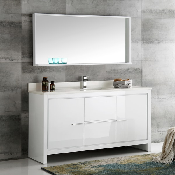Shop fresca allier white 60 inch modern single sink bathroom vanity with mirror free shipping 60 in bathroom vanities with single sink