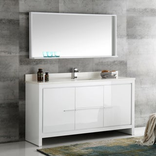 Fresca Allier White 60-inch Modern Single-sink Bathroom Vanity With Mirror