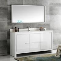 Fresca Allier White 60-inch Modern Single-sink Bathroom Vanity With Mirror