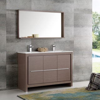 Fresca Allier Grey Oak 48-inch Modern Double-sink Bathroom Vanity With Mirror