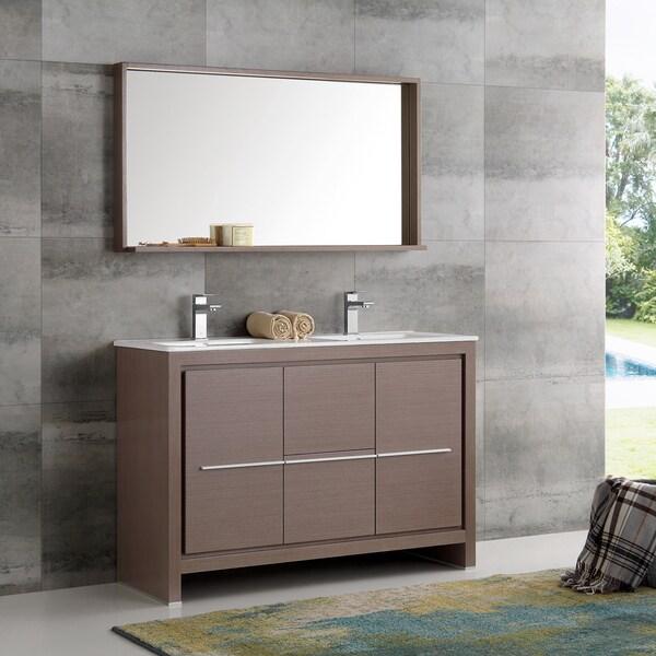 Bathroom Vanity 48 Inch Double Sink: Shop Fresca Allier Grey Oak 48-inch Modern Double-sink