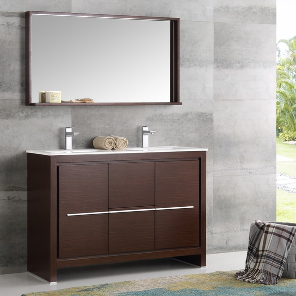 Shop fresca allier wenge brown brass 48 inch modern double for 48 inch mirrored bathroom vanity
