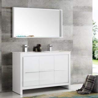 Fresca Allier White Plywood and Veneer 48-inch Double Bathroom Vanity with Quartz Top, Ceramic Sink, and Mirror